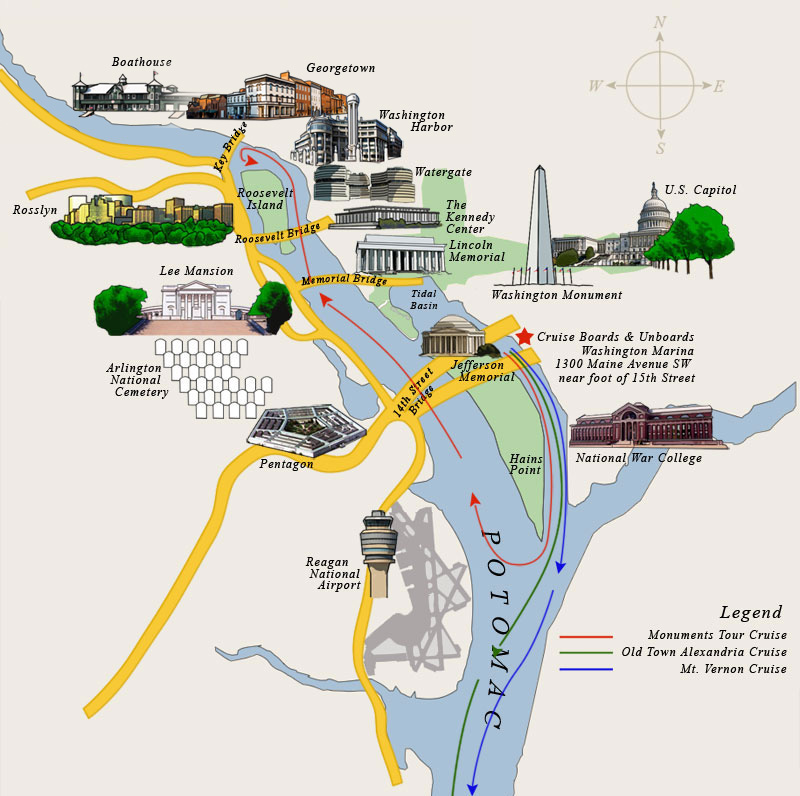 Washington DC Sightseeing Cruises Potomac River Cruises – Washington DC Tourist Map